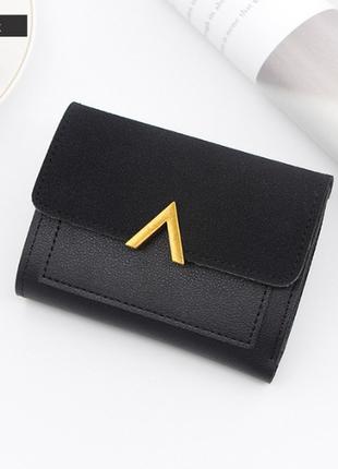 Кошелек кошелёк компактный вместительный стильный эко кожа замша черный новый