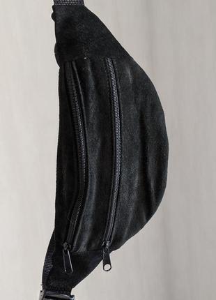 Стильная бананка натуральная кожа, модная сумка на пояс черная замшевая б8