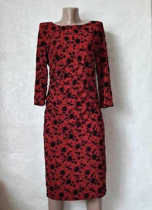 Фирменное monsoon силуэтное платье миди с бархатным выбитым рисунком, размер л-ка