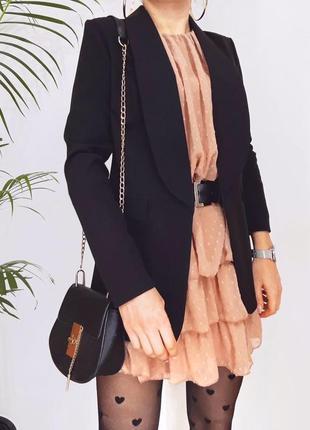 Женский длинный пиджак, черный