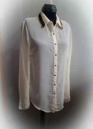 Шифоновая полупрозрачная блуза рубашка с декором