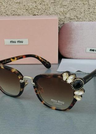Miu miu очень стильные модные женские солнцезащитные очки с камнями коричневые тигровые