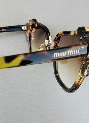 Miu miu очень стильные модные женские солнцезащитные очки с камнями коричневые тигровые7 фото