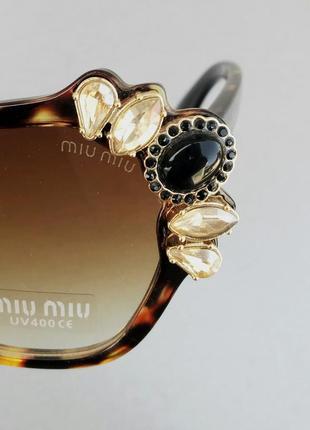 Miu miu очень стильные модные женские солнцезащитные очки с камнями коричневые тигровые8 фото