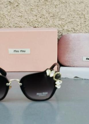 Miu miu очки женские солнцезащитные стильные и модные с камнями черные с градиентом2 фото