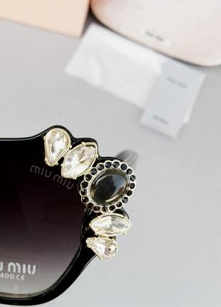 Miu miu очки женские солнцезащитные стильные и модные с камнями черные с градиентом8 фото