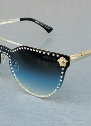 Versace очки женские солнцезащитные с камнями с сине голубым градиентом