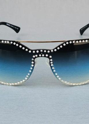 Versace очки женские солнцезащитные с камнями с сине голубым градиентом2 фото