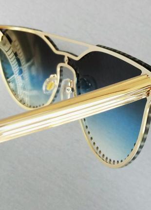 Versace очки женские солнцезащитные с камнями с сине голубым градиентом6 фото