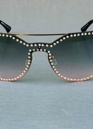 Versace очки женские солнцезащитные с сине розовым градиентом с камнями