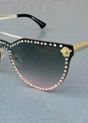 Versace очки женские солнцезащитные с сине розовым градиентом с камнями2 фото