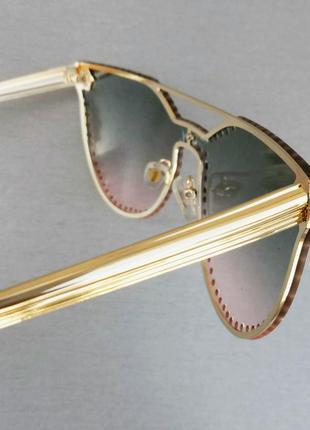 Versace очки женские солнцезащитные с сине розовым градиентом с камнями6 фото
