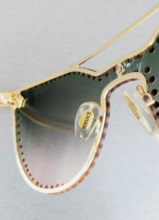 Versace очки женские солнцезащитные с сине розовым градиентом с камнями7 фото