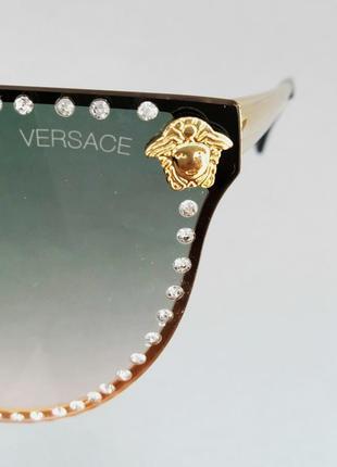 Versace очки женские солнцезащитные с сине розовым градиентом с камнями8 фото