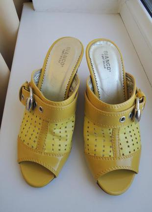 Новые фирменные кожаные шлепанцы bianco р.37 (24 см) и другая стильная обувь - заходите!