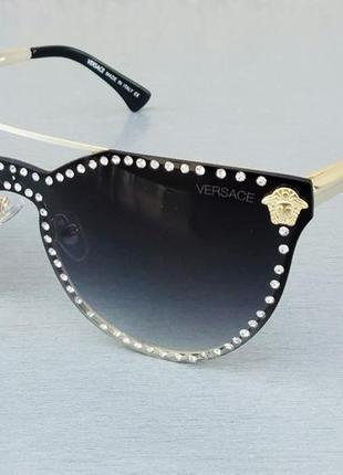 Versace очки женские солнцезащитные стильные черные с градиентом с камнями