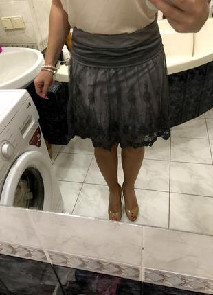 Фатиновая юбка кружево, сетка promod , оригинал
