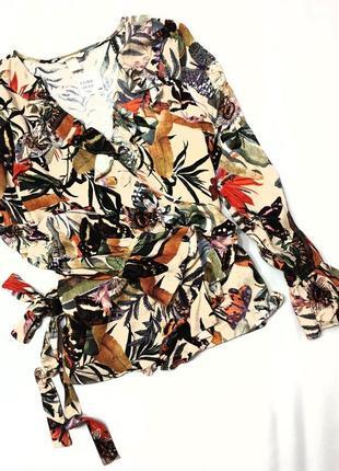 H&m блуза блузка с запахом воланы рюши цветочный принт 44 xxl 52