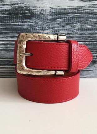 Женский ремень кожаный пояс красный buckles & belts