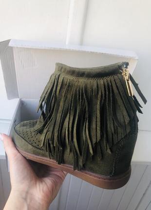 Ботинки с бахромой ichi, замш, италия
