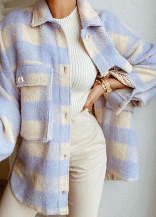 Байковые рубашки-пальто в лавандовом цвете