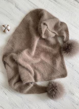 Вязаный бактус косынка платок ручной работы из пуха норки ангоры