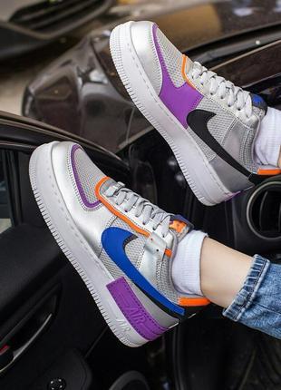 Шикарные кроссовки nike air force 1 shadow metallic silver кросівки