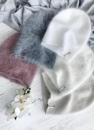 Шапочки бини ручной работы из пуха норки ангора