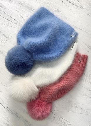Пушистые шапочки ручной работы из ангоры и пуха норки