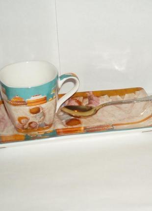 Кофейный набор трио gapchinska фарфор нержавейка чашка блюдце