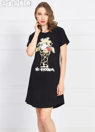 Туника хлопковая черная домашнее платье ночная рубашка