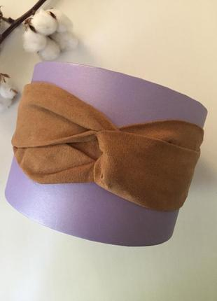 Повязка на голову коричневая бежевая обруч ободок чалма замшевая