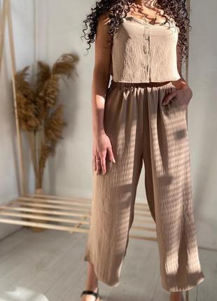 Костюм из льна, брюки кюлоты, топ, льняные брюки, льняной костюм
