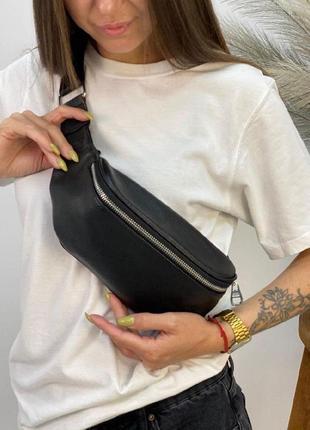 Женская сумка бананка polina&eiterou из натуральной кожи в черном цвете
