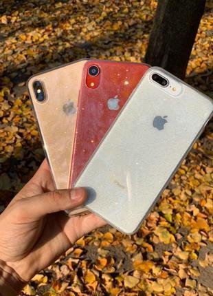 Блестящий прозрачный чехол для айфон iphone 6/7/8/x/xr/xs/xsmax/11/11pro/11promax/se2