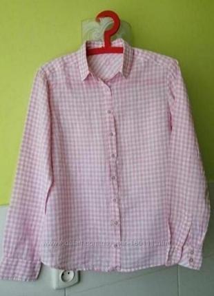 Льняная рубашка в клетку от massimo dutti