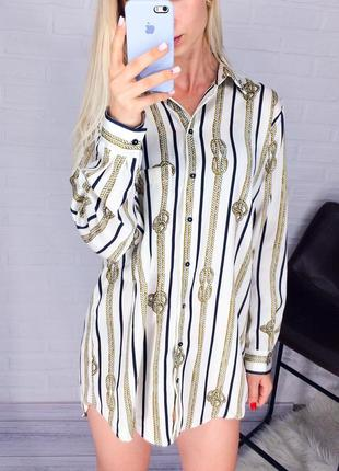 Блуза рубашка zara в полоску рубашка оверсайз с канатами на пуговицах