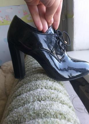 Распродажа!лакированные чёрные ботинки осень-весна