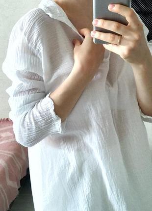 Белая базовая рубашка  хлопок оверсайз свободная блуза
