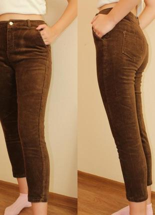 Вельветовые  женские брюки со средней посадкой коричневые