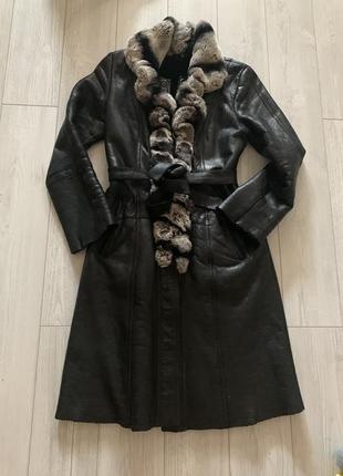 Дубленка. пальто -100% кожа зима 44-46 р