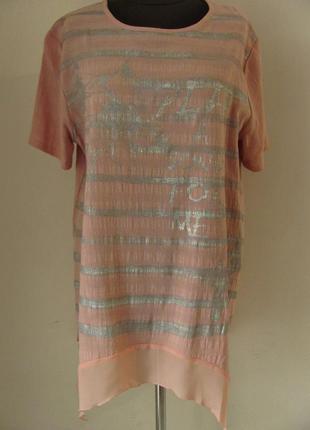Блуза рубашечного кроя из льна с шифоном ботал (р-р.50) код 1411м