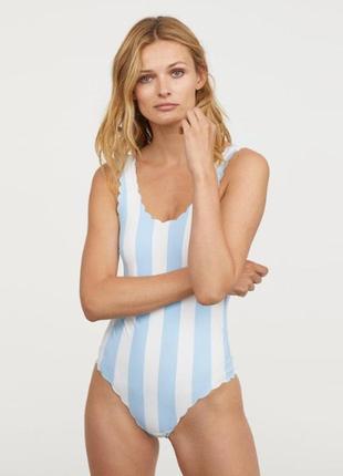 H&m купальник слитный сдельный, бело - голубая полоска