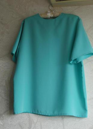 Бирюзовая, мятная блуза с коротким рукавом