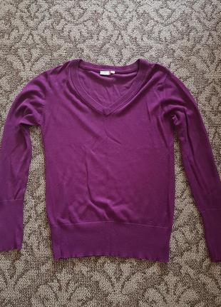 Пуловер джемпер с v вырезом фиолетовый женский
