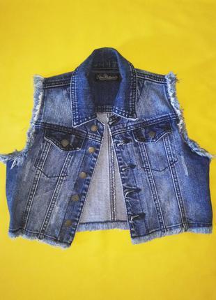 Укороченная джинсовая жилетка kira plastinina