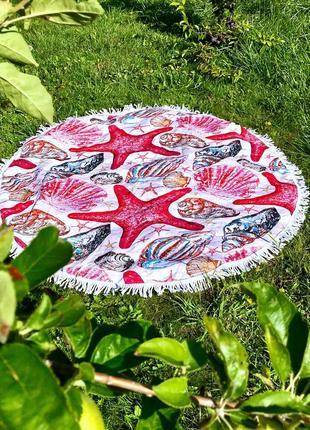 Пляжный круглый коврик плед морской расцветки