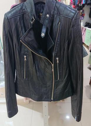 Куртка кожаная женская черная короткая по распродаже