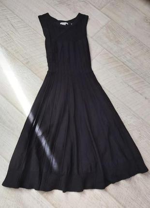 Чёрное миди платье плиссе ткань эластичная вязка