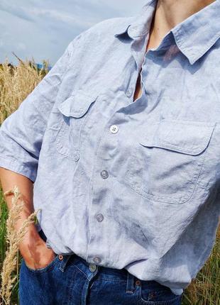 Льняна сіро-голуба сорочка